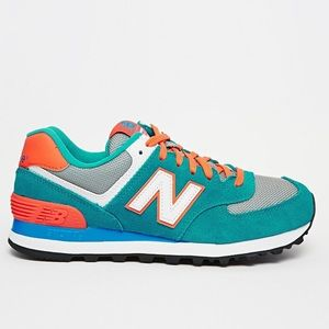 Orange + Teal New Balance 575 Sneakers